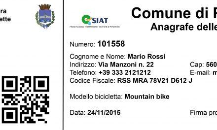 Proposta di Legge per istituire l'Anagrafe delle Biciclette
