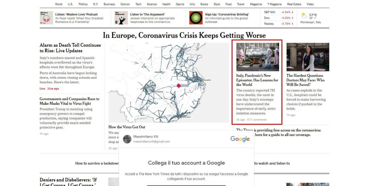 Il New York Times porta in luce le gravi responsabilita' del Governo nella diffusione del COVID-19
